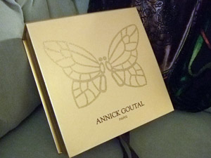 Box for Annick Goutal Un Matyin d'Orage set - gold with butterfly