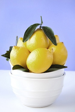 Lovely lemons in a white bowl
