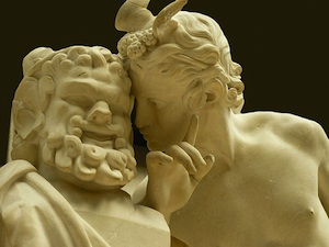 Dionysus whispering to a faun