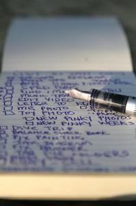Handwritten list with fountain pen