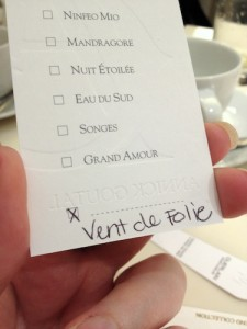 Vent de Folie sampler card from Annick Goutal