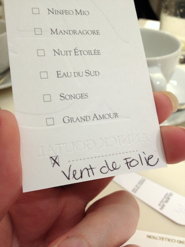 Vent de Folie sampler card from Annick Goutal